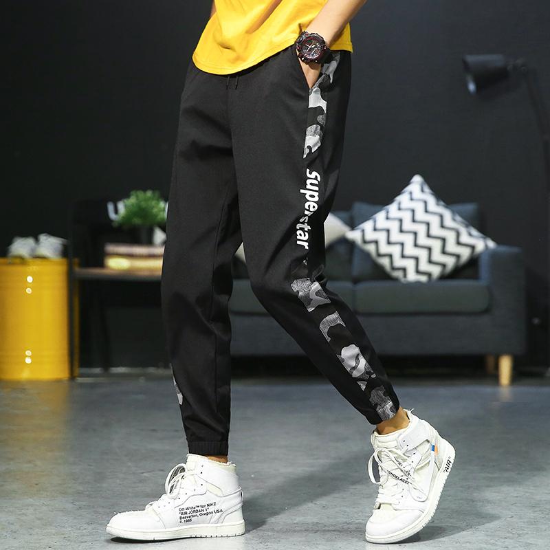 【爆款推荐】夏季男士休闲裤韩版修身男裤子帅气潮流大码迷彩透气舒适运动裤