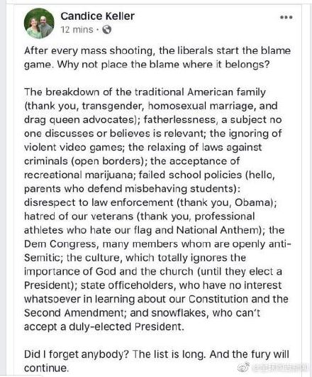 美国一州议员称:破坏传统家庭的同性婚姻是造成枪击案的原因之一