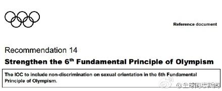 国际奥委会建议主办国禁止性倾向歧视