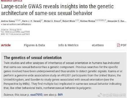 """一项大型研究的结果:与同性恋有关的基因可能有很多,性倾向不是""""连续的一个量表"""" 同志新闻 第4张"""