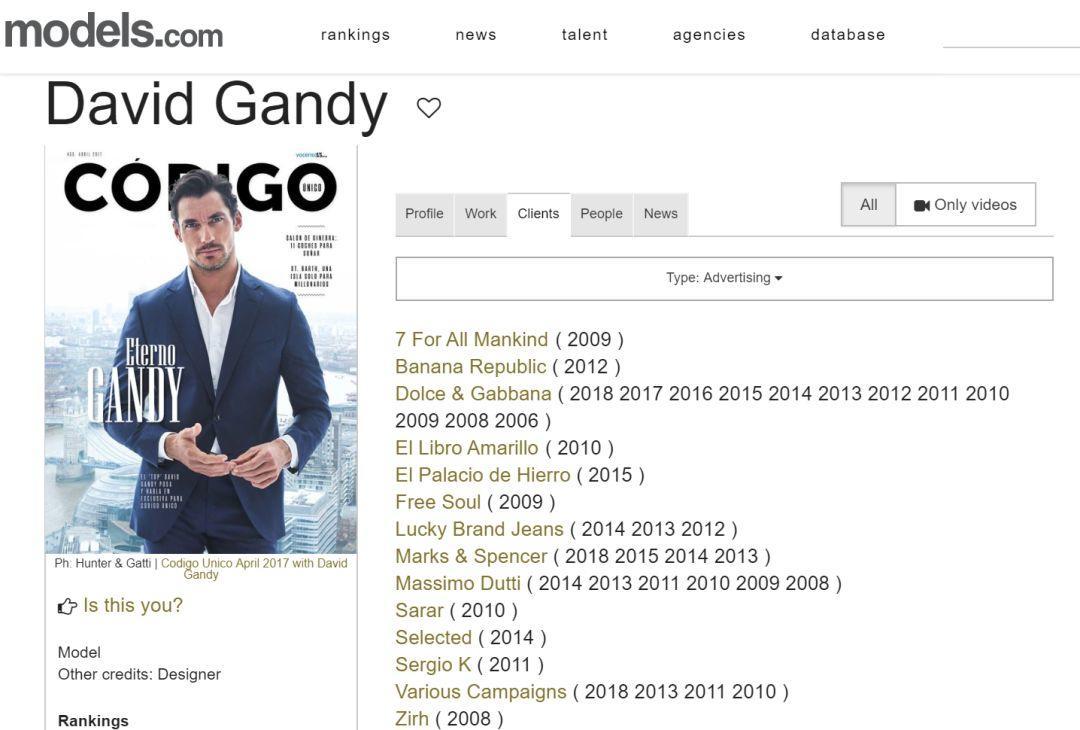 沉寂多年的David Gandy终于出来拍大片了!